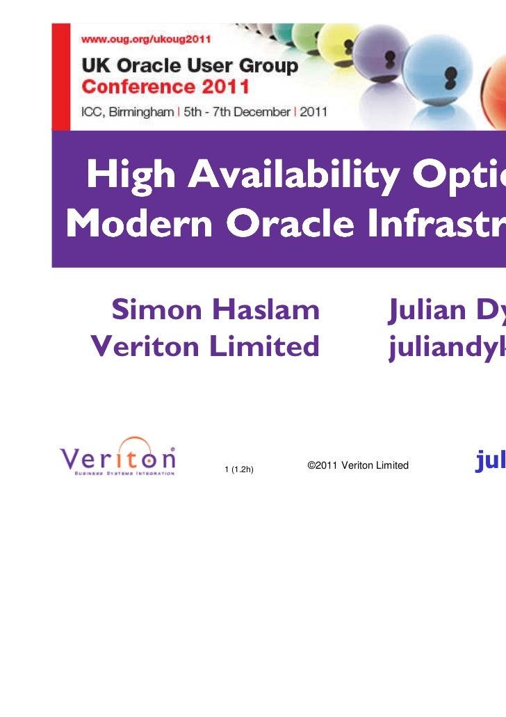High Availability Options forModern Oracle Infrastructures  Simon Haslam                      Julian Dyke Veriton Limited ...