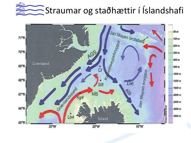 Mismunur hita í maí til október á 50-100 m dýpi milli tímabilanna 2000-2012 og 1980-1995. Rautt sýnir hlýnun, blátt kólnun...