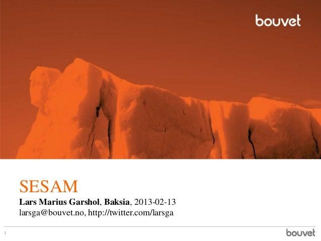 SESAM    Lars Marius Garshol, Baksia, 2013-02-13    larsga@bouvet.no, http://twitter.com/larsga1