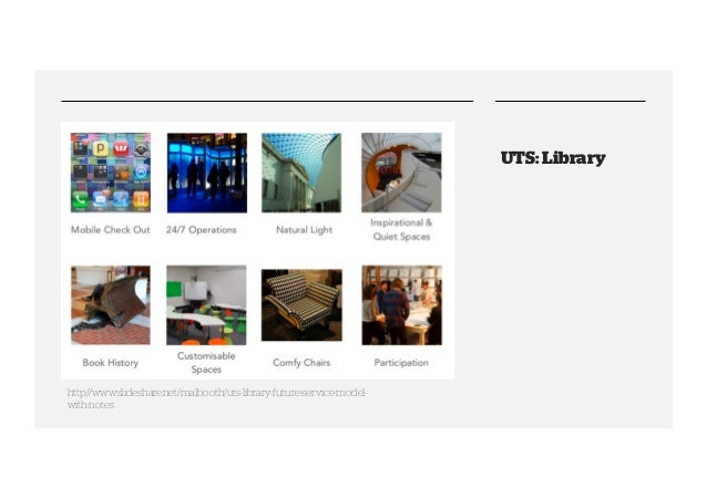 UTS: Library  http://www.slideshare.net/malbooth/uts-library-future-service-modelwith-notes