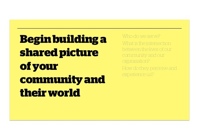 Begin building a shared picture of your community and their world  Who do we serve? What is the intersection between the l...