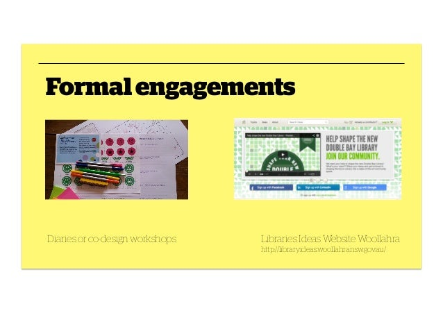Formal engagements  Diaries or co-design workshops  Libraries Ideas Website Woollahra http://libraryideas.woollahra.nsw.go...