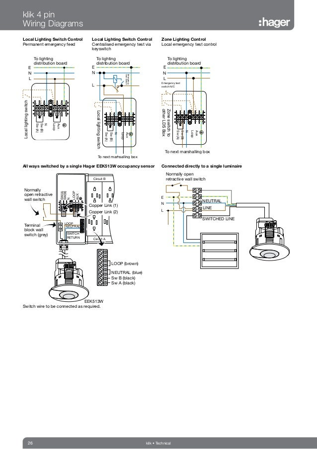 hager klik lighting connection control catalogue wiring diagrams note earth connections omitted for clarity technical 26