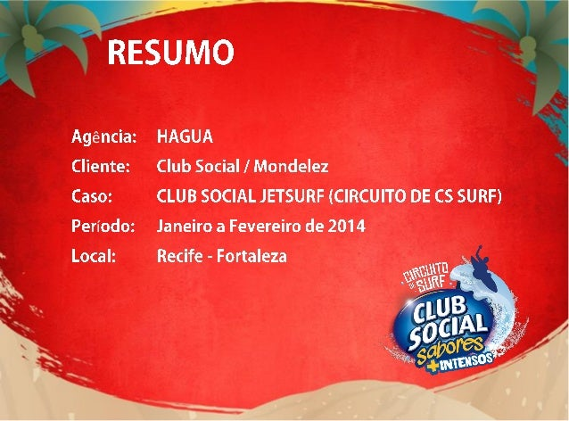 RESUMO Dentro da plataforma verão de Club Social, o objetivo de 2014 foi a comunicação da nova linha SABORES MAIS INTENSOS...