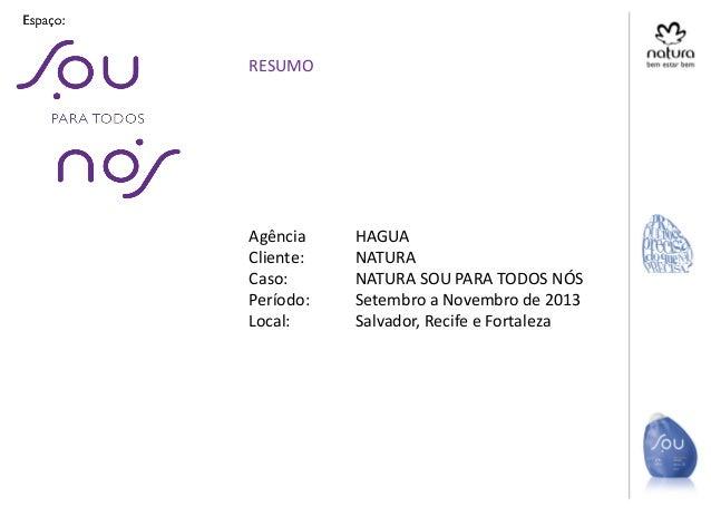 Agência HAGUA Cliente: NATURA Caso: NATURA SOU PARA TODOS NÓS Período: Setembro a Novembro de 2013 Local: Salvador, Recife...