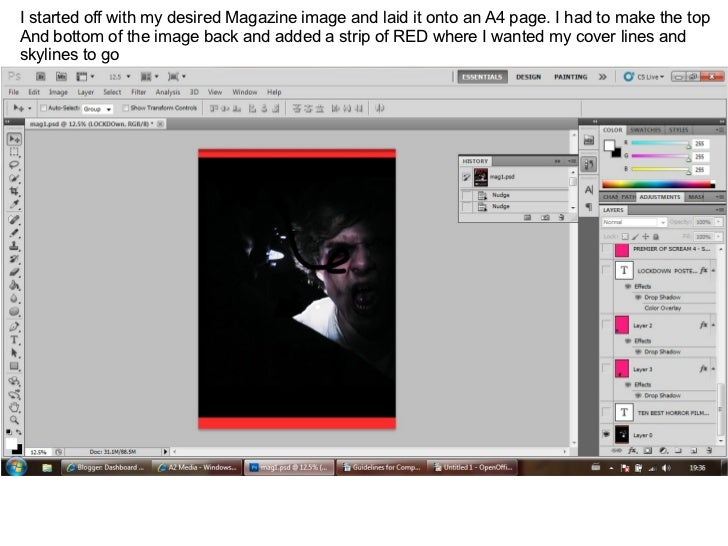I started off with my desired Magazine image and laid it onto an A4 page. I had to make the top  And bottom of the image b...