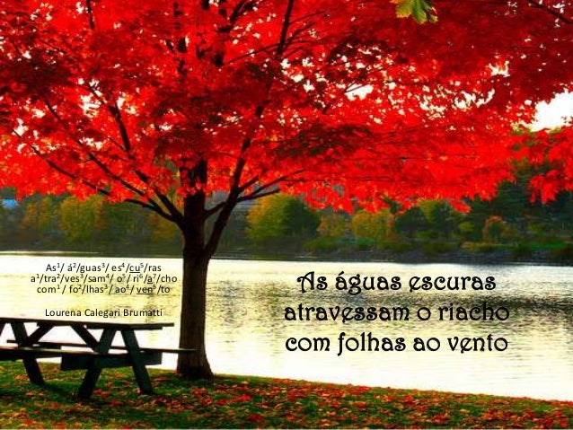 As águas escurasatravessam o riachocom folhas ao ventoAs1/ á2/guas3/ es4/cu5/rasa1/tra2/ves3/sam4/ o5/ ri6/a7/chocom1 / fo...