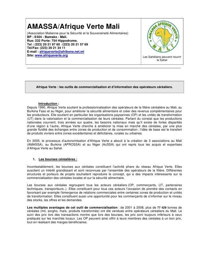 AMASSA/Afrique Verte Mali (Association Malienne pour la Sécurité et la Souveraineté Alimentaires) BP : E404 - Bamako - Mal...