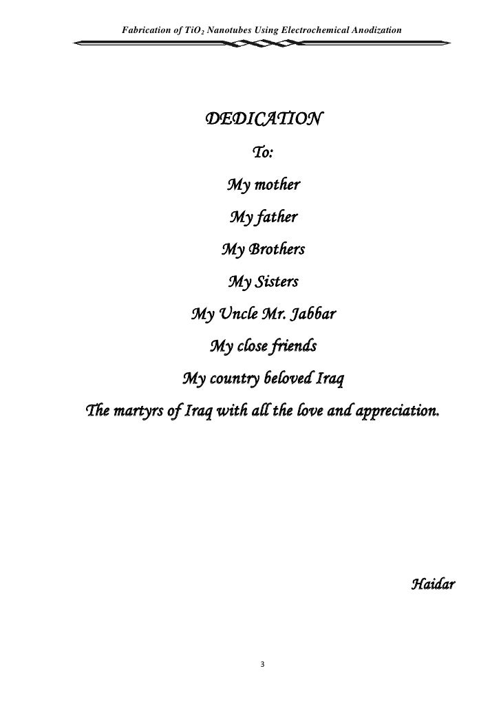 Sample dedication in thesis writing