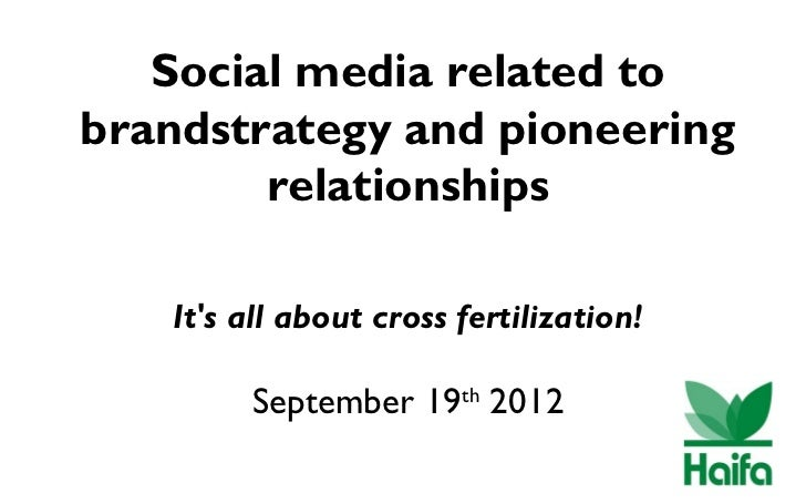 Social media related tobrandstrategy and pioneering        relationships   Its all about cross fertilization!        Septe...