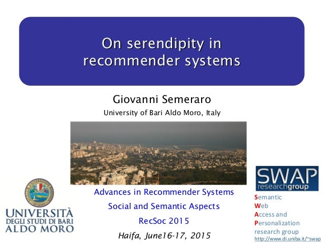 On Serendipity In Recommender Systems Haifa Recsoc