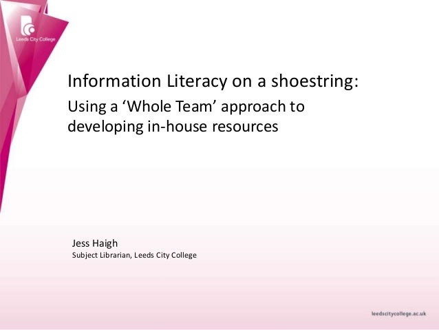 Information Literacy on a shoestring: Using a 'Whole Team' approach to developing in-house resources Jess Haigh Subject Li...
