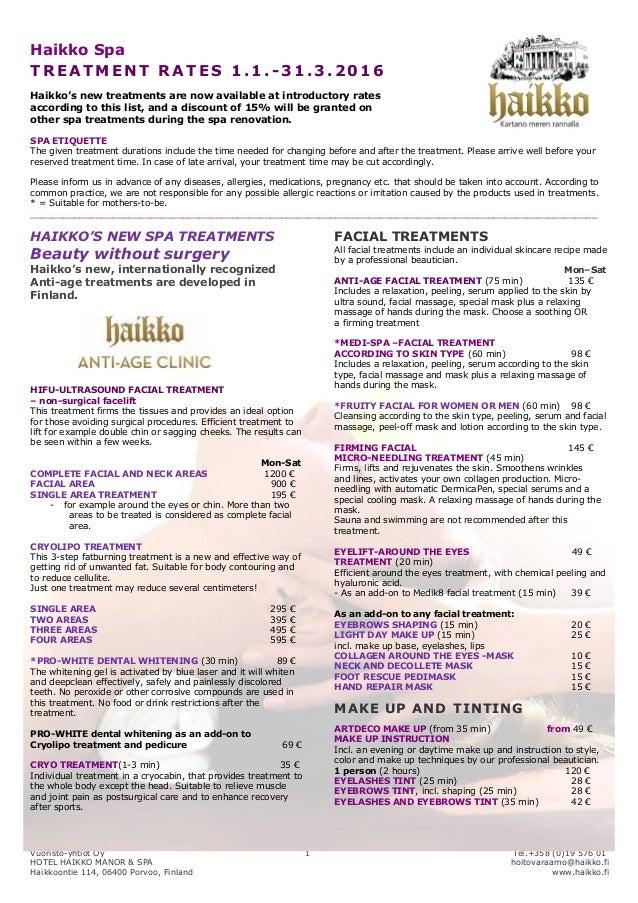 Haikko spa, treatment price list 2015