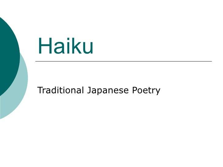 Haiku Traditional Japanese Poetry