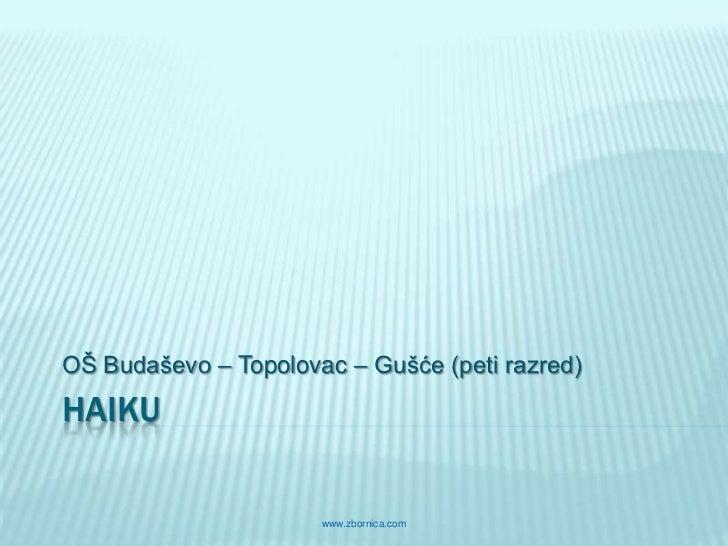 OŠ Budaševo – Topolovac – Gušće (peti razred)HAIKU                      www.zbornica.com