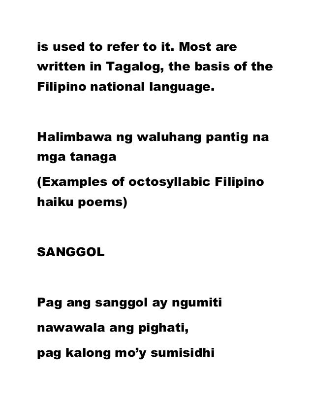 Haiku poems examples 5 7 tagalog for Tanka poem template