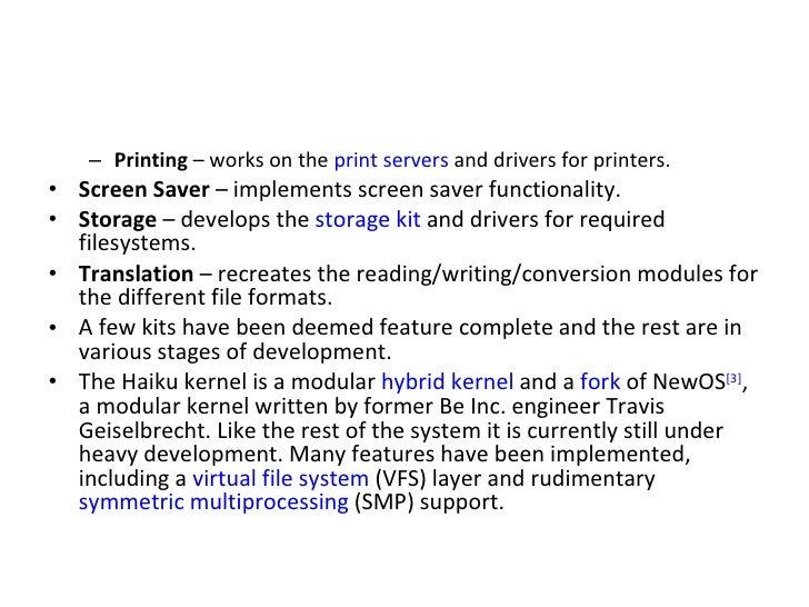 <ul><ul><li>Printing  – works on the  print servers  and drivers for printers. </li></ul></ul><ul><li>Screen Saver  – impl...