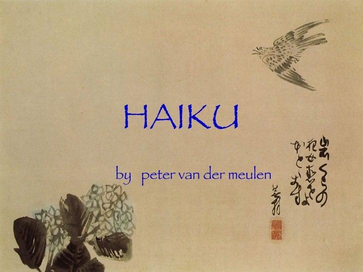 HAIKU by  peter van der meulen