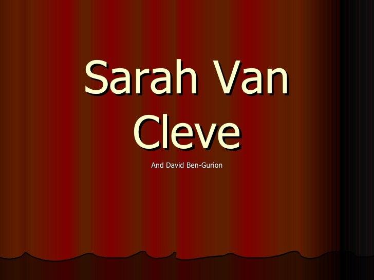 Sarah Van Cleve And David Ben-Gurion
