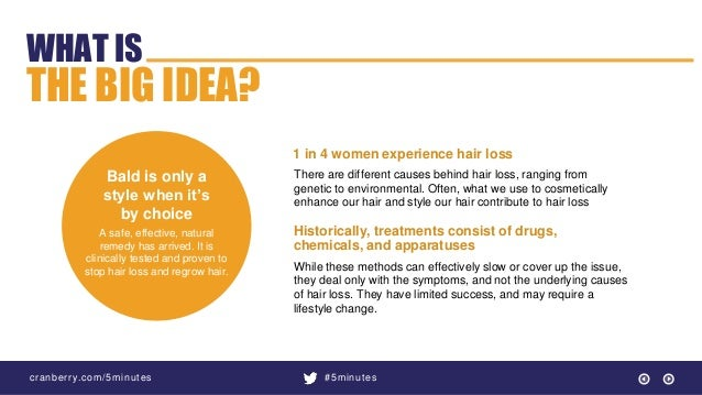 cranberry.com/5minutes #5minutes WHAT IS THE BIG IDEA? Bald is only a style when it's by choice A safe, effective, natural...