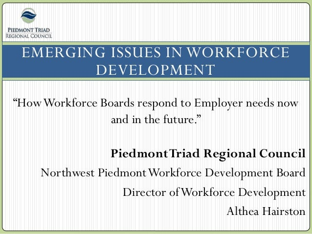 """EMERGING ISSUES IN WORKFORCE DEVELOPMENT """"HowWorkforce Boards respond to Employer needs now and in the future."""" PiedmontTr..."""