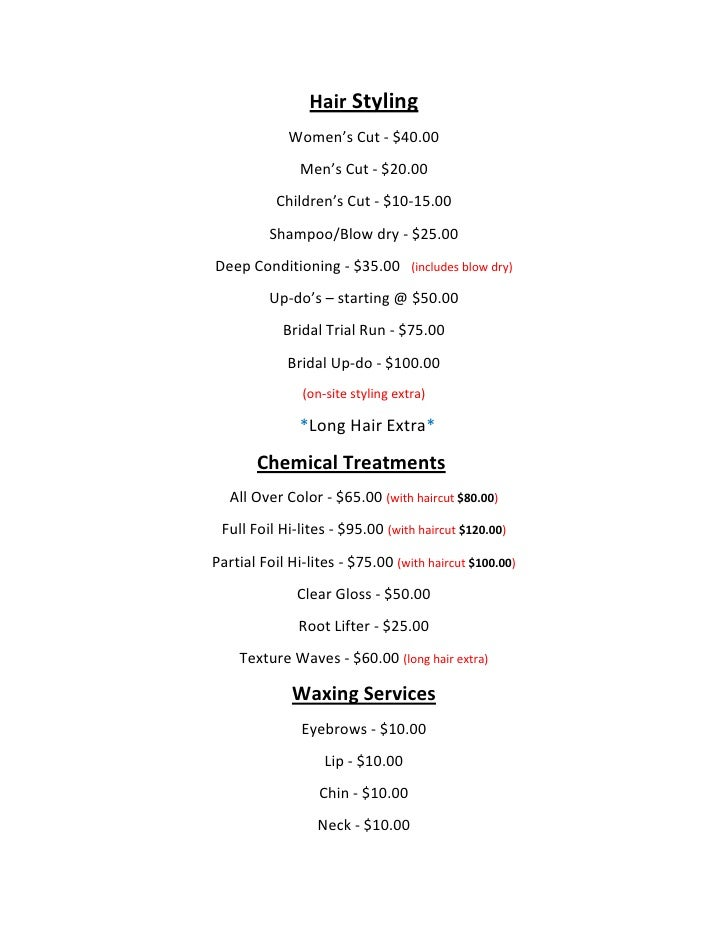 Hair Styling Oakes Salon Price List