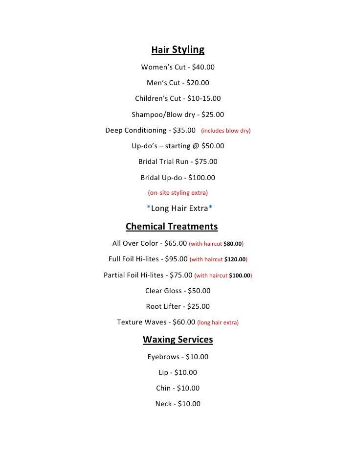 Hair Styling Oakes Salon Price List. Hair Stylingu003cbr /u003eWomenu0027s Cut    $40.00u003cbr /u003eMenu0027s Cut