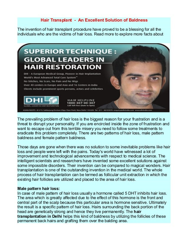 Hair transplantation by dhi india - dhiindia.com