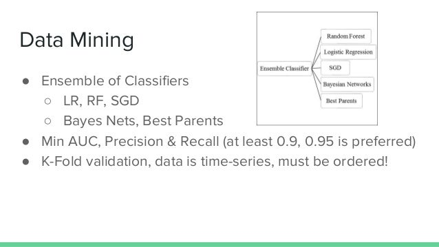 Data Mining ● Ensemble of Classifiers ○ LR, RF, SGD ○ Bayes Nets, Best Parents ● Min AUC, Precision & Recall (at least 0.9...