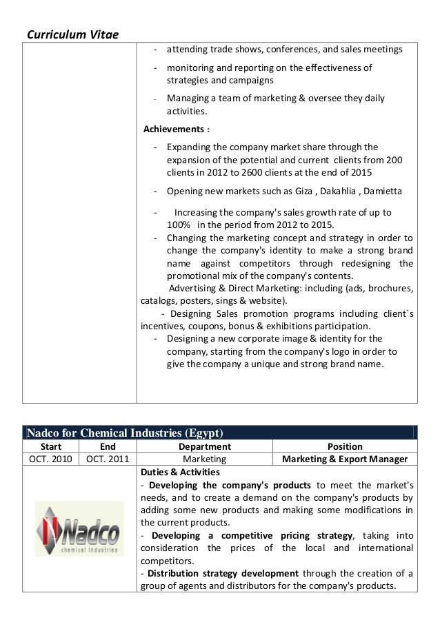 Curriculum Vitae - attending trade shows, conferences, and sales meetings - monitoring and reporting on the effectiveness ...