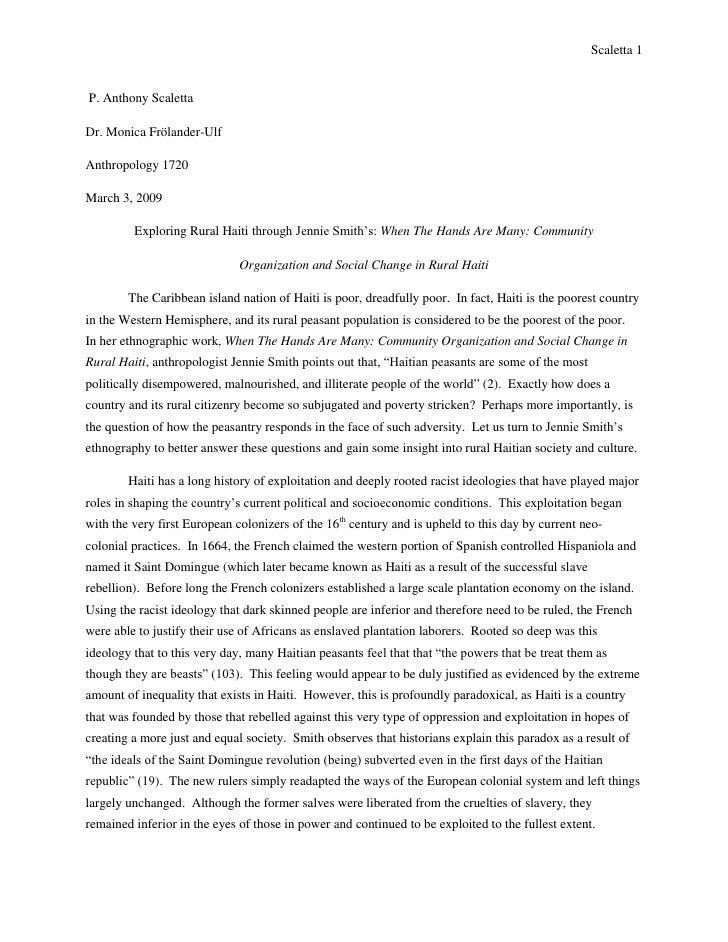 P. Anthony Scaletta<br />Dr. Monica Frölander-Ulf<br />Anthropology 1720<br />March 3, 2009<br />Exploring Rural Haiti th...