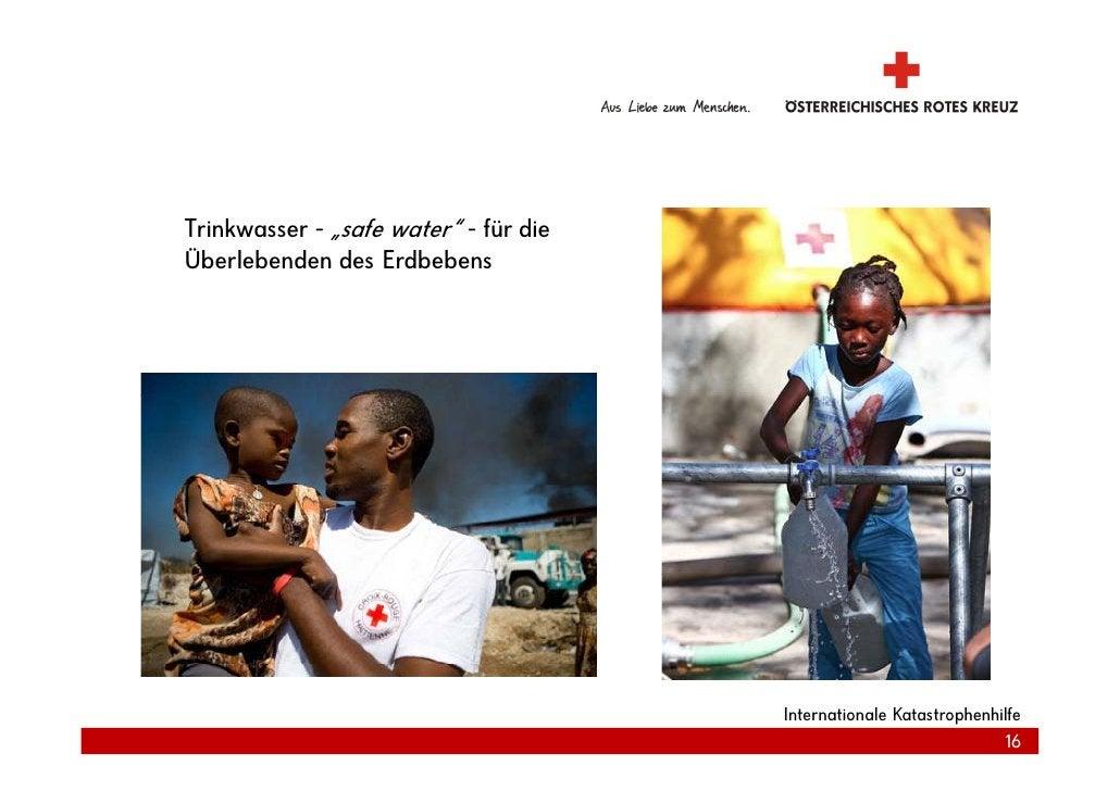 """Trinkwasser - """"safe water"""" - für die Überlebenden des Erdbebens                                            Internationale ..."""