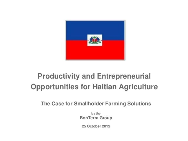 Productivity and EntrepreneurialOpportunities for Haitian Agriculture  The Case for Smallholder Farming Solutions         ...