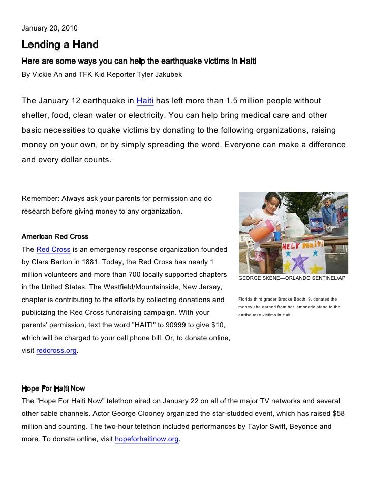 January 20, 2010<br />Lending a Hand<br />Here are some ways you can help the earthquake victims in Haiti<br />By Vickie A...