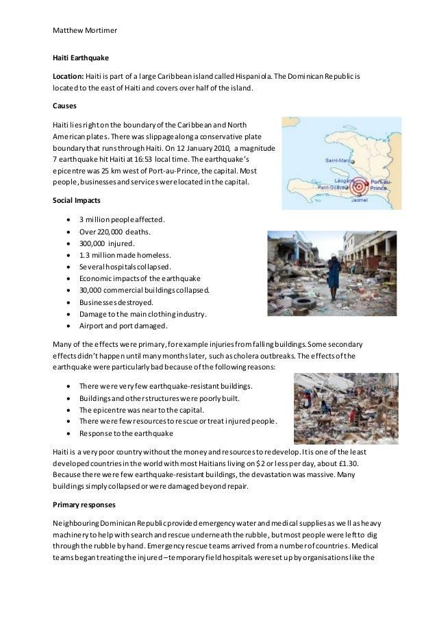 case study earthquake ledc