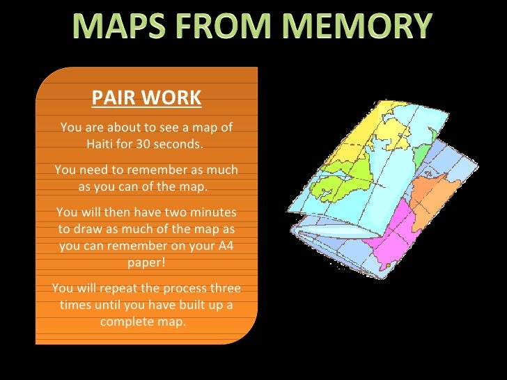 PAIR WORK You are about to see a map of Haiti for 30 seconds.  You need to remember as much as you can of the map.  You wi...
