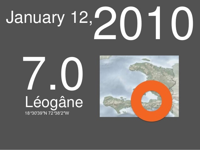 2010  January 12,  7.0 Léogâne 18°30′39″N 72°38′2″W