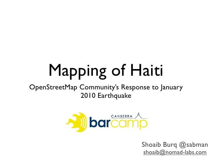 Mapping of Haiti OpenStreetMap Community's Response to January               2010 Earthquake                              ...