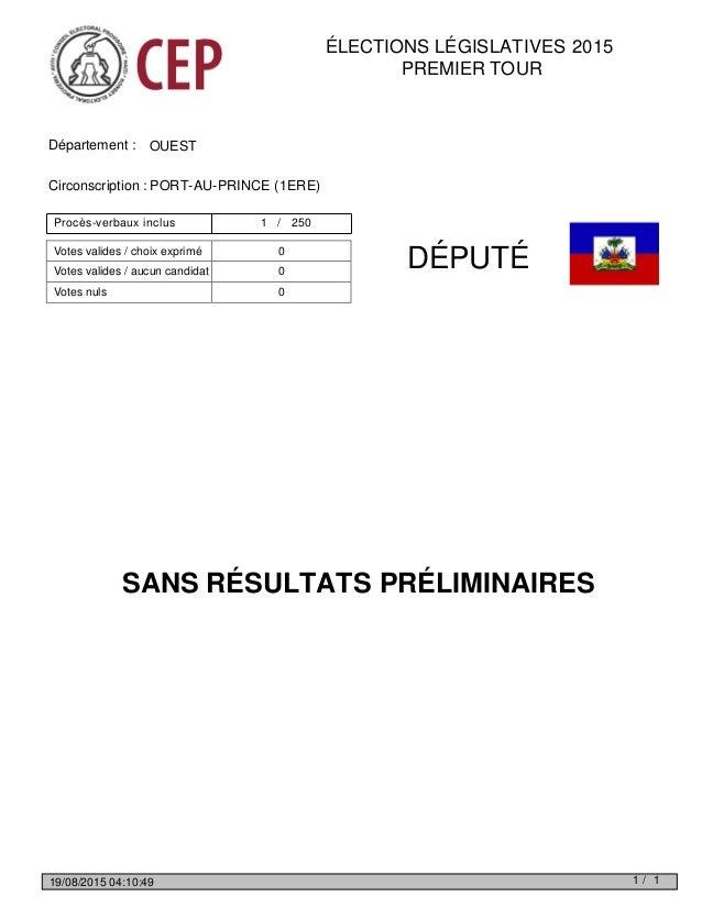 ÉLECTIONS LÉGISLATIVES 2015 PREMIER TOUR Département : OUEST Circonscription : PORT-AU-PRINCE (1ERE) DÉPUTÉ SANS RÉSULTATS...