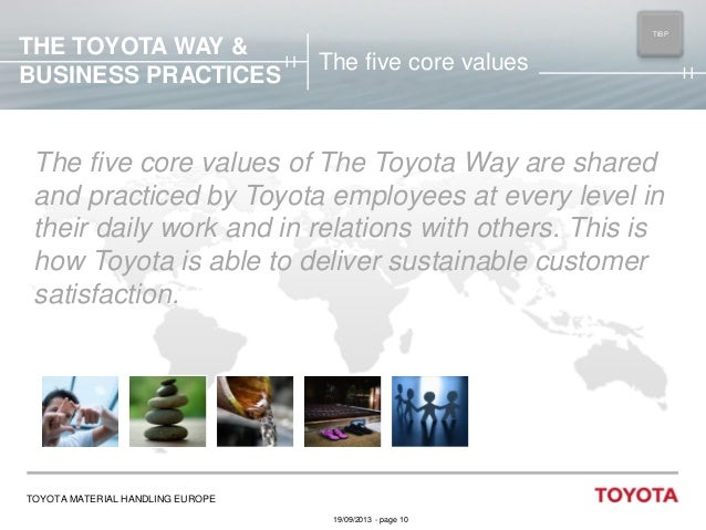 THE TOYOTA WAY & BUSINESS PRACTICES  TIBP MAIN  The five core values  The five core values of The Toyota Way are shared an...