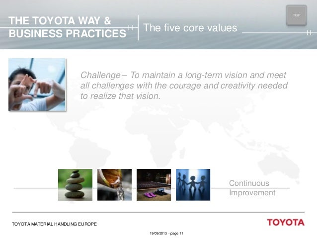 THE TOYOTA WAY & BUSINESS PRACTICES  TIBP MAIN  The five core values  Challenge – To maintain a long-term vision and meet ...