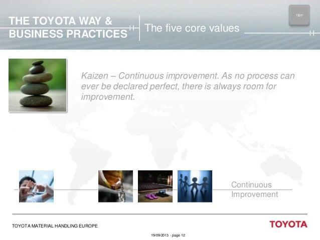 THE TOYOTA WAY & BUSINESS PRACTICES  TIBP MAIN  The five core values  Kaizen – Continuous improvement. As no process can e...