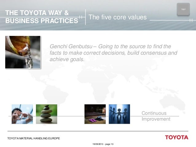 THE TOYOTA WAY & BUSINESS PRACTICES  TIBP MAIN  The five core values  Genchi Genbutsu – Going to the source to find the fa...