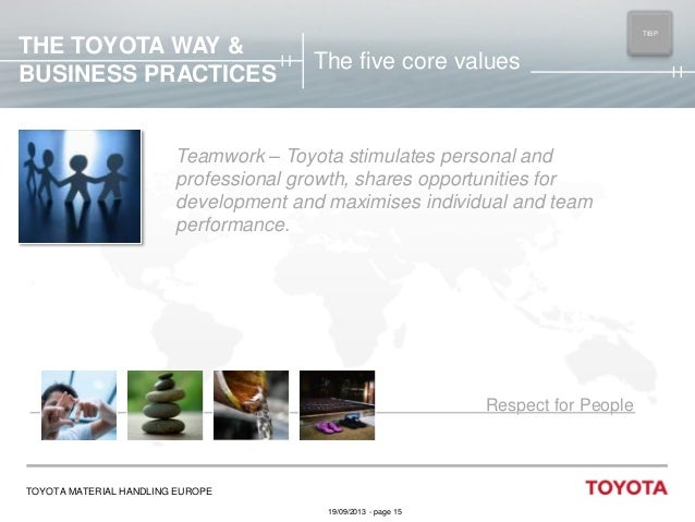 THE TOYOTA WAY & BUSINESS PRACTICES  TIBP MAIN  The five core values  Teamwork – Toyota stimulates personal and profession...