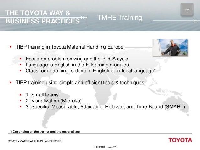 THE TOYOTA WAY & BUSINESS PRACTICES  TIBP MAIN  TMHE Training   TIBP training in Toyota Material Handling Europe  Focus ...