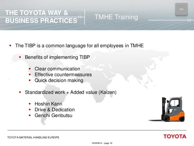 TIBP MAIN  THE TOYOTA WAY & BUSINESS PRACTICES  TMHE Training   The TIBP is a common language for all employees in TMHE ...
