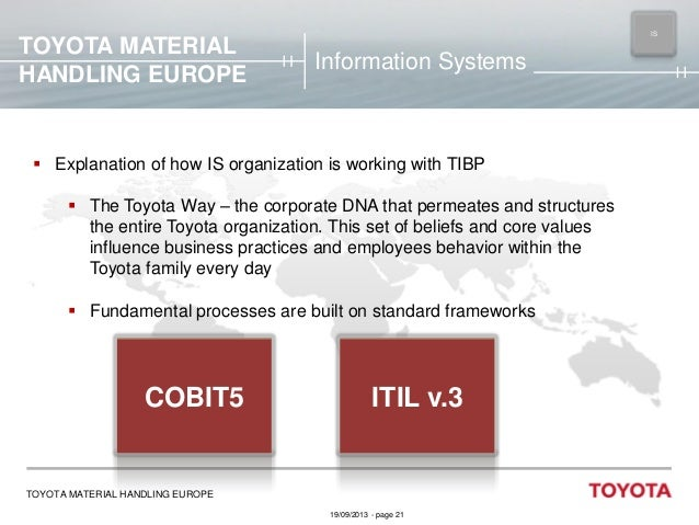 TOYOTA MATERIAL HANDLING EUROPE  IS MAIN  Information Systems   Explanation of how IS organization is working with TIBP ...