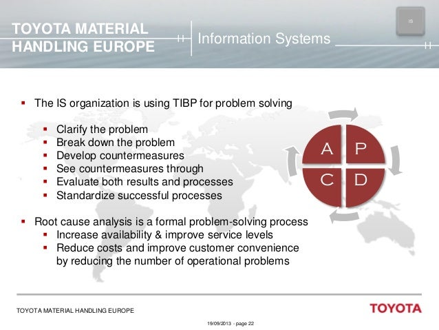 TOYOTA MATERIAL HANDLING EUROPE  IS MAIN  Information Systems   The IS organization is using TIBP for problem solving  ...