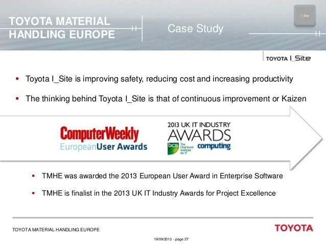 TOYOTA MATERIAL HANDLING EUROPE  I_Site MAIN  Case Study   Toyota I_Site is improving safety, reducing cost and increasin...