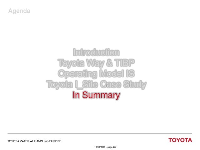 Agenda  Introduction Toyota Way & TIBP Operating Model IS Toyota I_Site Case Study In Summary  TOYOTA MATERIAL HANDLING EU...